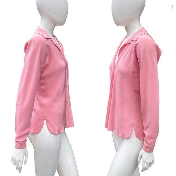 Vintage 1970s HALSTON Studio 54 Pink Blouse M - image 5