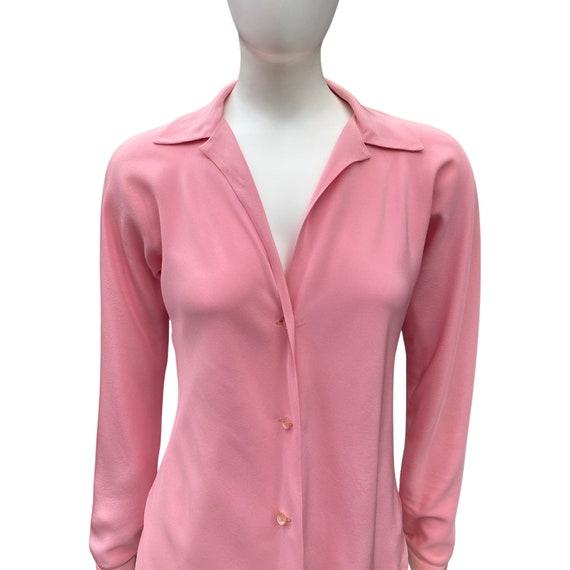 Vintage 1970s HALSTON Studio 54 Pink Blouse M - image 3