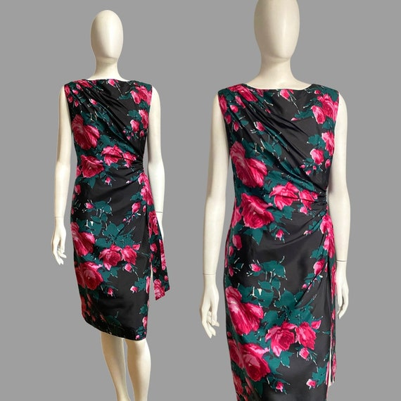 Vintage 1950s 60s Silk Rose Print Cocktail Wiggle… - image 1