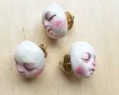 White and Pink Baby Face Brooch - Handmade hand painted polymer clay - 2cm