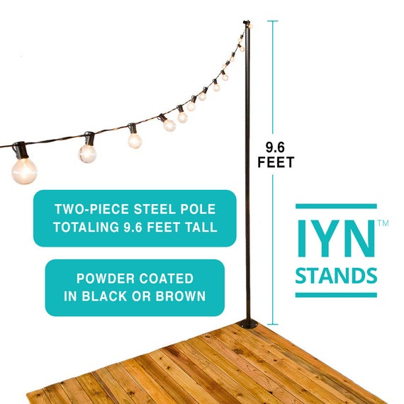 Pole Stand-Hang string lights shading or privacy screening BLACK or BROWN