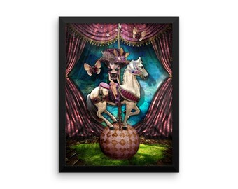 Framed poster, #1, Mulberry Pony, wall art, home decoration, digital print, art print, xquizart, circus, carousel, pony, art,