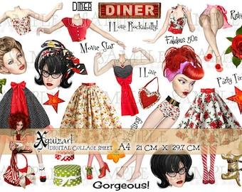 Paper Dolls - Digital Collage Sheets - Rockabilly Retro