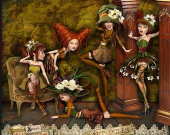 Artdolls, Magnolia, Digital Scrapbooking Kit, clipart, digistamps, art-dolls, xquizart, elements, vintage, grunge, victorian, goth