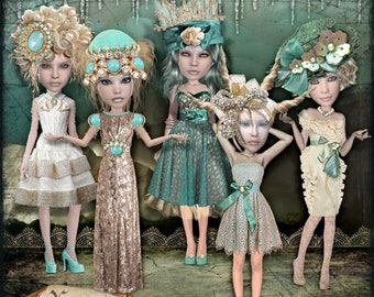 Art dolls, Ice Cave, collage, art journal, Digital Scrapbooking