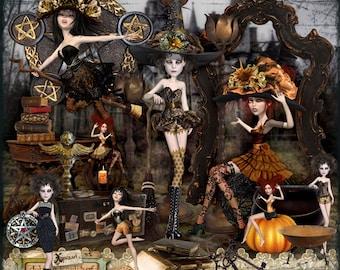 Halloween, Digital Scrapbook Kit, Witches, digistamps, art-dolls, xquizart, scrapbooking, elements, vintage, grunge, victorian, gothic