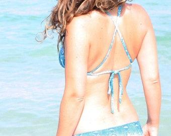 KIKI handmade turquoise cross back snake print bikini top