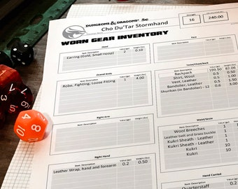 INVENTORY BUNDLE - D&D 5e Character Reference Sheets - Worn Gear, Backpack Inventory, Stored Container and Info (Print Play Fillable)