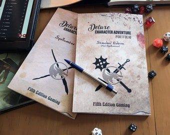 Deluxe Character Adventure Portfolio/Journal: Non-Spell Caster Edition (Grunge Cover) - D&D 5e