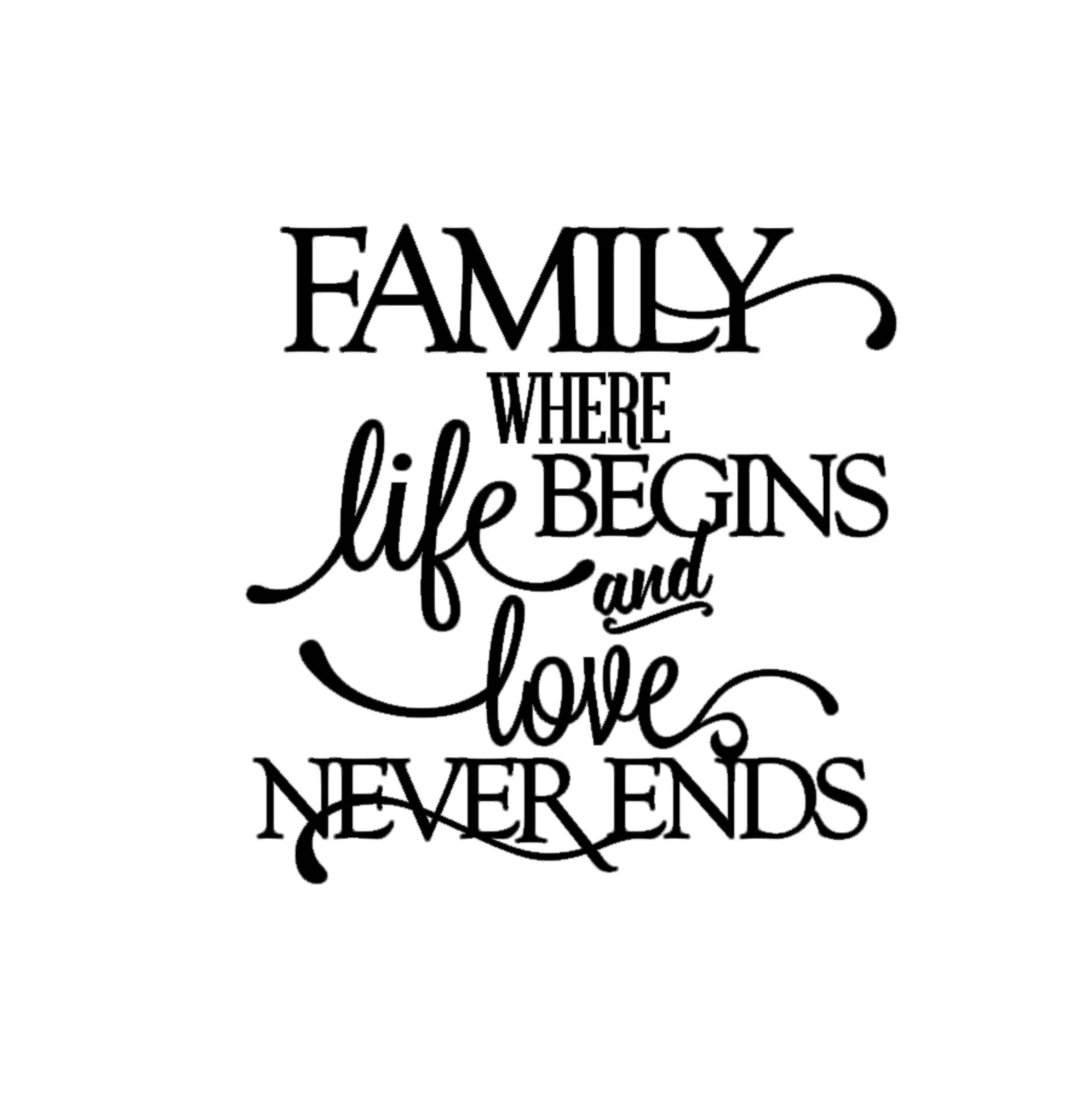 Short Religious Quotes About Family: Family Where Life Begins And Love Never Ends Quote Decal