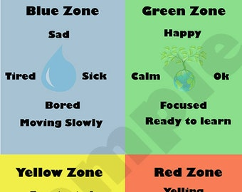 image regarding Zones of Regulation Printable titled Zones of Law Occupational Treatment method Printable Autism Etsy