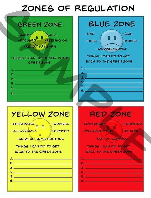It's just a photo of Zones of Regulation Printable regarding anger