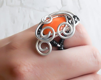 Clearance - Wire Wrapped Ring - Beaded Ring - Everyday Ring -Gift For Her - Silver Ring - Black Ring - Bohemian Ring - Costume Ring