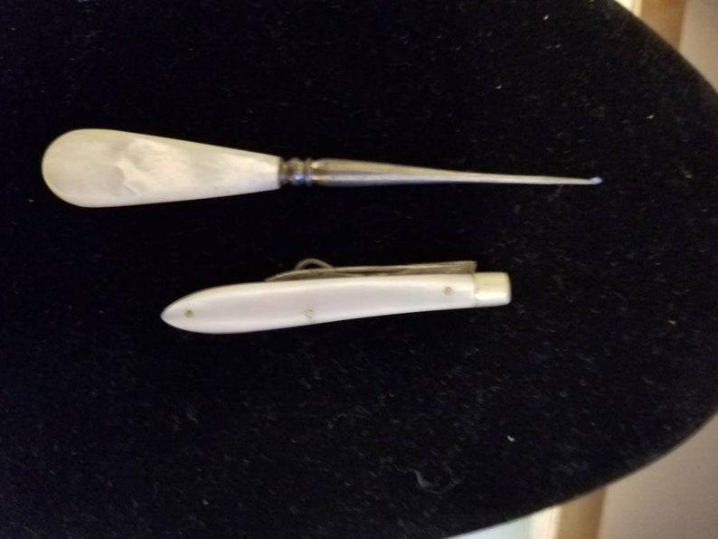 Vintage Mother of Pearl Miniture CrocetingTools Button Hooks