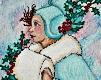 ACEO Christmas, Snow Woman, Original Watercolor & Ink, By DPM