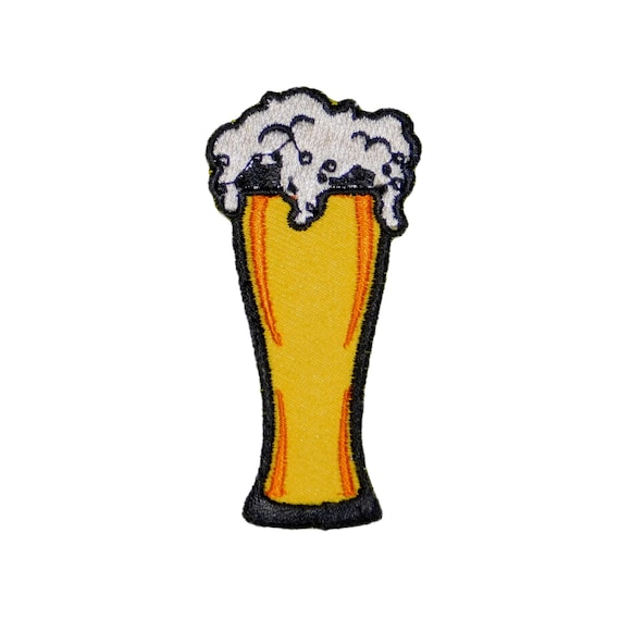 Embroidered Pint Glass of Beer Iron On Patch Sew On Badge Food Drink Embroidery