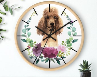 Poodle Dog Face Wall Clock