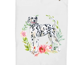 PERSONALIZED NAME Flour Sack Dish Towel Hearts Red Pink Hearts Dalmatian All You Need Is Love And A Dalmatian Kitchen Towel Dog Mom
