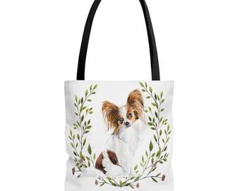 Papillon Mama Tote Bag Dog Mom Canvas Tote Bag Library Tote Book Bag Personalized Papillon Mom Shopping Bag