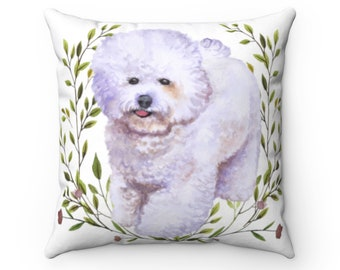 Poodle UK Sale Bichon Frise Watercolour Dog Cushion Cover Linen-Cotton