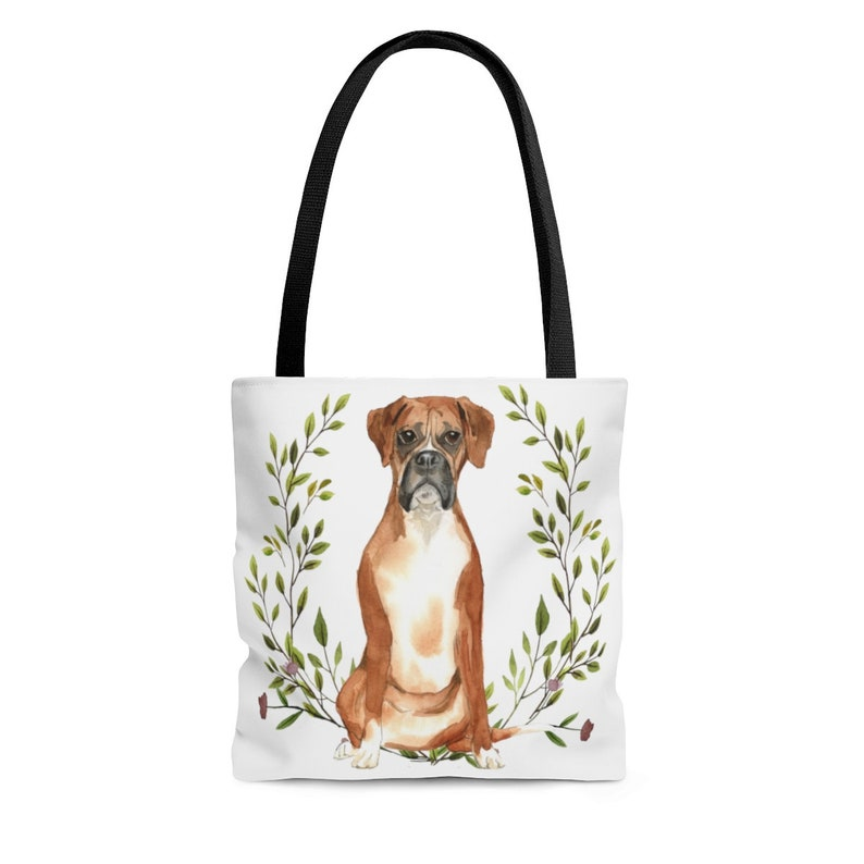 Boxer Dog Lover Gift for Women Cute Canvas Dog Tote Bag Double Sided Print with Black Handles