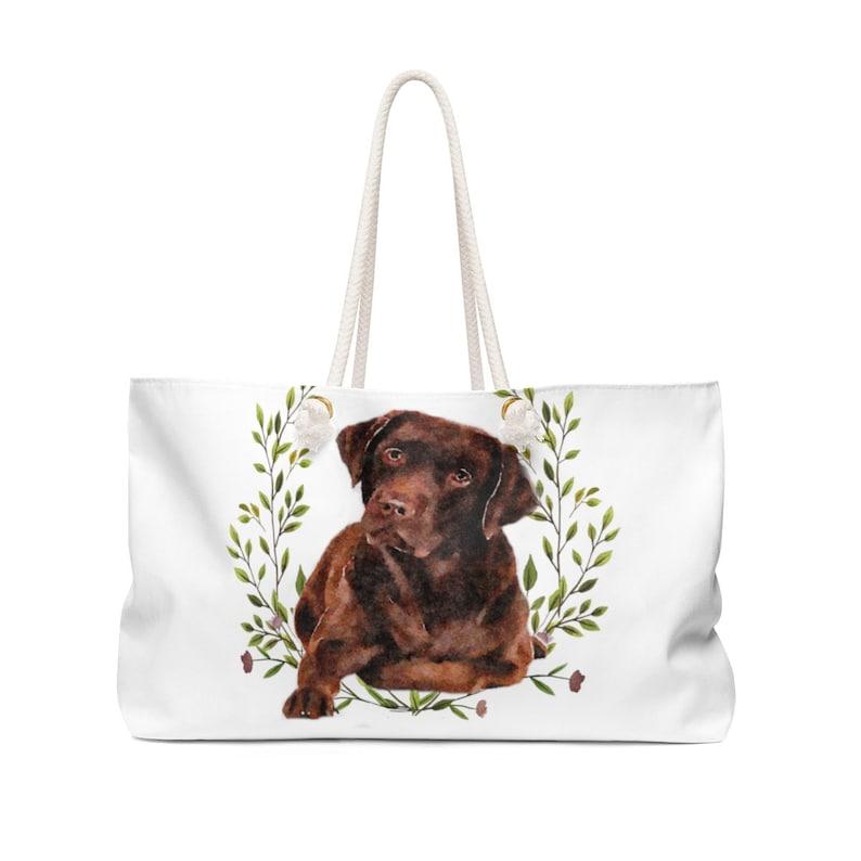 Chocolate Labrador Retriever Bag Canvas Weekender Tote Bag Large Weekend Bag Dog Tote Bag for Dog Mom Cute Dog Gift for Dog Lovers