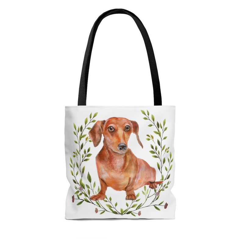 Dachshund Tote Eco Friendly Bag for Dog Lover Gift Canvas Tote Bag Double Sided Print with Black Handles