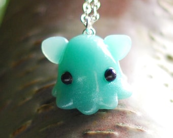 Mint Blue Dumbo Octopus Necklace, Grimpoteuthis umbrella octopus