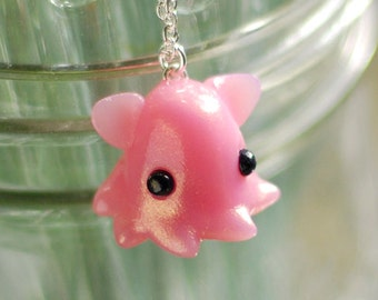 Pink Dumbo Octopus Necklace, Deep Sea Grimpoteuthis umbrella octopus