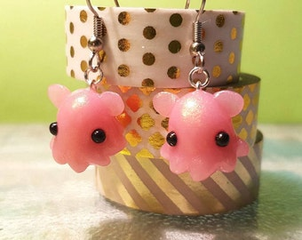 Small Dumbo Octopus Earrings, orange, pink, or mint