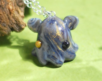 Marbled Dumbo Octopus Necklace, one of a kind, deep sea umbrella octopus pendant