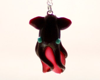 Vampire Squid from Hell Necklace, deep sea Vampyroteuthis infernalis creepy cute totem animal pendant