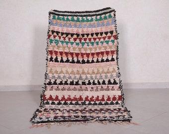 Handmade rug Vintage berber rug Hand knotted rug Small moroccan rug Boucherouite rug 2.6 FT X 4.9 FT
