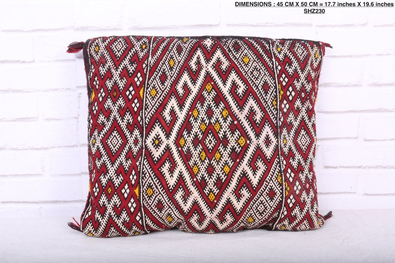 17.7 inches X 19.6 inches Filled Moroccan pillow