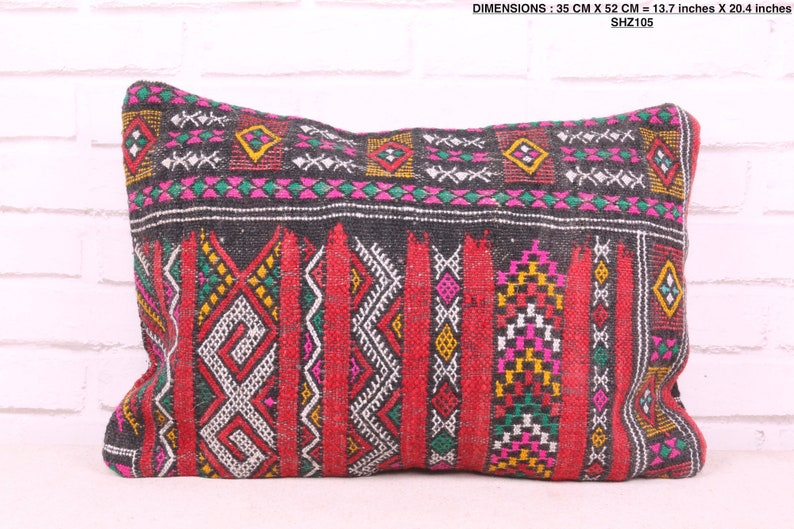 13.7 inches X 20.4 inches Filled Moroccan pillow
