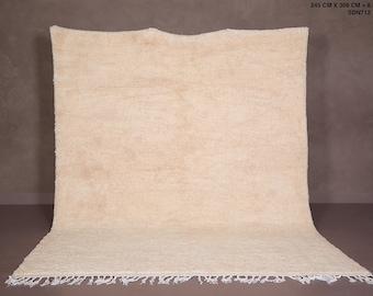 Moroccan rug Solid - Custom Craim rug- Moroccan rug Plain - Berber rug - Handmade rug - Beni ourain rug - Wool rug - looped rug - looped