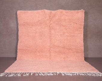 Moroccan Pink rug - Solid peach rug - Plain Pink rug - Wool Berber rug - Beni ourain rug - Custom rug - Handmade rug - Moroccan area rug