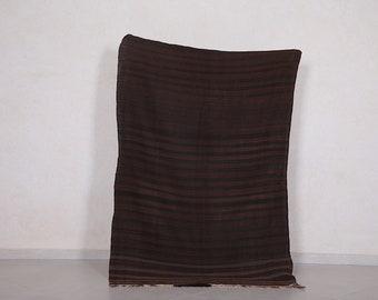 Moroccan flat rug 4 FT X 6.1 FT - Vintage berber rug - Moroccan area rug - Brown rug - Antique kilim rug