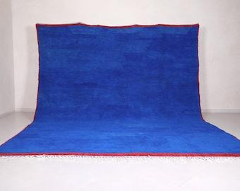 Moroccan rug blue - Berber rug - Custom Moroccan rug - Beni ourain rug - Handmade rug - Plain Wool rug - Solid blue rug