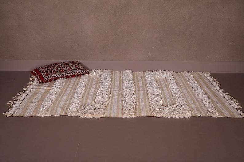 hand knotted rug Wedding rug Handwoven blanket throw 3.6 FT X 6.3 FT Moroccan rug Rag rug Vintage berber rug