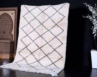 Authentic white Moroccan rug 5ft x 7.5ft handmade by 100% genuine lamb wool moroccan wool vintage authentic beni ourain area rug moroccan