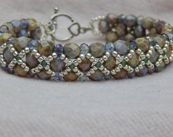 Snakeskin bead woven bracelet