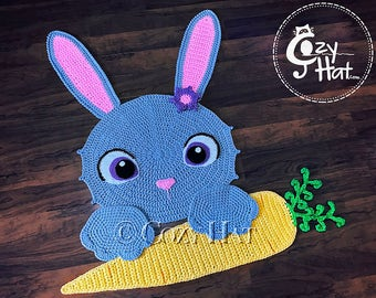 READY TO SHIP! Bella the Bunny Rug. Hand Crocheted. Perfect Baby Shower or Housewarming Gift. Only One Available. Unique Item. Sale!