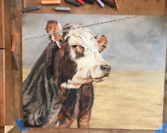 Farm Art Original Art, Original Art, Wall Art, Home Decor, Farm Art, Farm House Art, Farm House Decor, Cow Art, Farm Painting, Farm Pastel