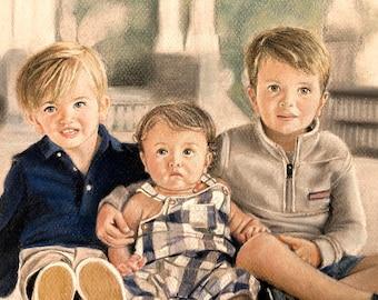 Family Portrait Art, Custom Paintings, Paint My Children, Portrait Artists, Childrens Artist, Family Painting, Pastel Paintings, Soft Pastel