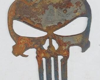 "Lot of 4 PUNISHER Skull Shapes 2/"" Rusty Metal Vintage Ornament Craft Stencil"