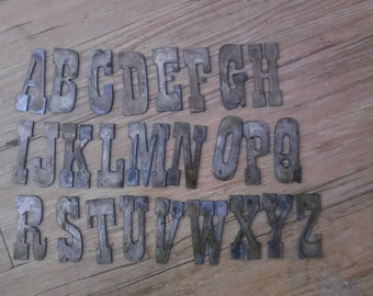 3 inch Letters Alphabet PER LETTER Rusty Vintage Western Style Metal Steel Wall Art Ornament Magnet Stencil DIY Sign Decor Farmhouse