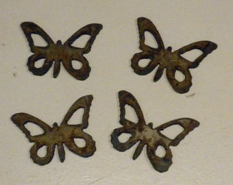 Lot Set Of 4 Butterfly Shapes 2 Inch Rusty Vintage Antique Y Metal Steel  Wall