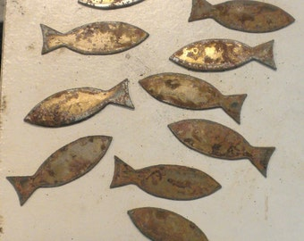 Lot Set of 10 Fish Shapes Ichthus 2 inch Rusty Vintage Antique-y Metal Steel Wall Art Ornament Craft Stencil