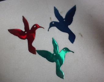 Set of Three 2 inch Hummingbirds Red Blue Green Metal Art Ornament Magnet Stencil Wind Chime Garden